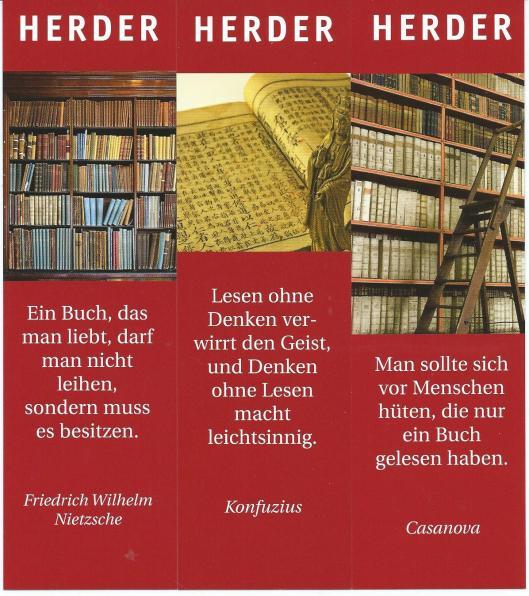 3 boekenleggers van uitgeverij Herder in Wenen met citaten van Casanova, Konfuzius en Nietzsche