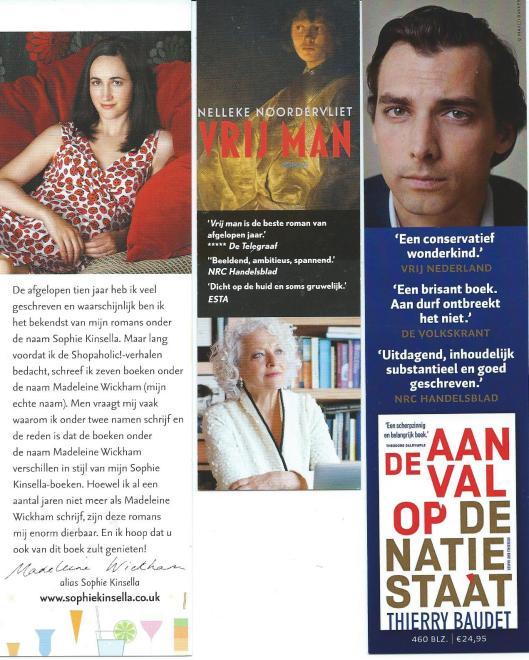 V.l.n.r. boekenleggers: Sophia Kinsella, Nelleke Noordervliet en Thierrt Baudet