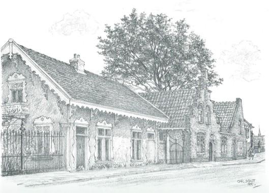 Huizen aan de Bennebroekse Binnenweg. Tekening door Chris Schut, 1990