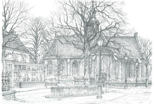 Wilhelminaplein Heemstede met restaurant Het Wapen van Heemstede en de Oude Kerk. Tekening door Chris Schut, 1990