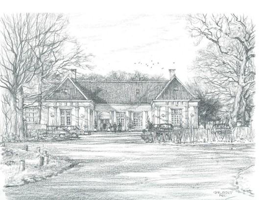 Restaurant landgoed Groenendaal. Tekening door Chris Schut 1990
