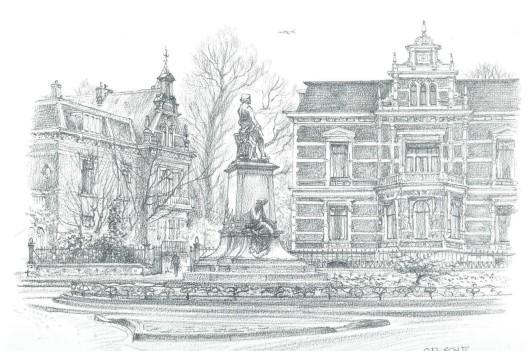 Het Florapark met het het standbeeld van Frans Hals. In het grote huis op nummer 8 woonde de mecenas van o.a. dit beeld en de schouwburg J.Krol