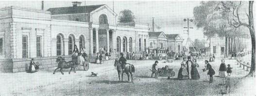 In 1842 is de spoorlijn Amsterdam-Haarlem doorgetrokken naar Den Haag en een jaar later naar 's-Gravenhage. Tekening van het tweede stationsgebouw in Haarlem op het Jansveld, tussen Jansweg en Kruisweg, dat dienst deed van 1844 tot 1867 (NHA)