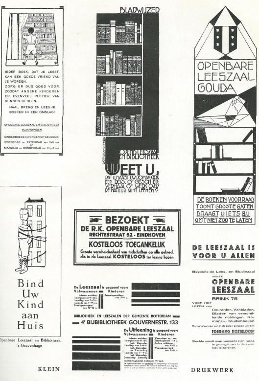 Enkele bladwijzers en drukwerk van openbare leeszalen en bibliotheken uit de eerste helft van de vorige eeuw.