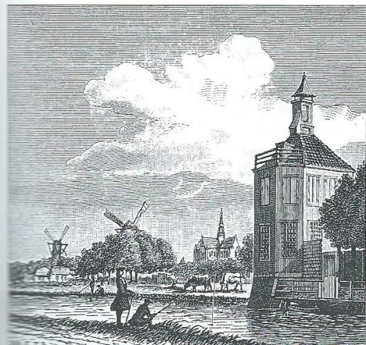 Gezicht aan de Leidsevaart tussen de eerste brug en de stad. Rechts het gedeelte van het buitengebied van Haarlem waar later de kwekerij 'Zwanenburg' van de firma C.G.van Tubergen Jr. zou komen (O.H.C., 28-10-1911)