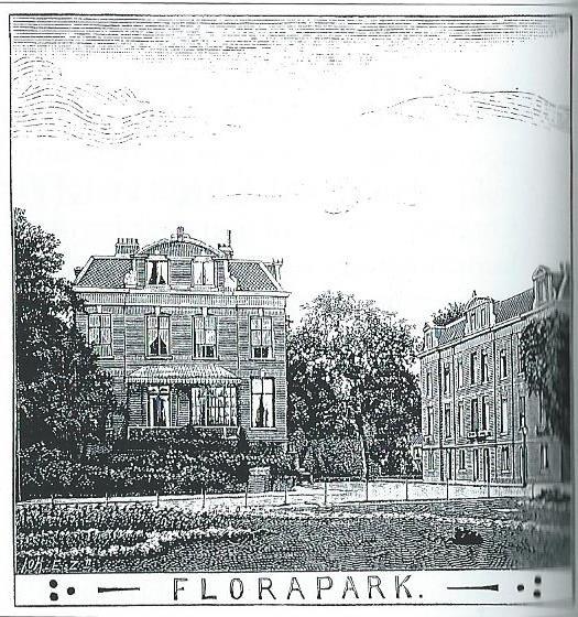 Tekening van huizen op het voormalige Florapark, thans Floraplein geheten. In het huis nummer 25 woonde lange tijd beeldhouwer Johannes M.Veldheer (O.H.C., 27-1-1908)