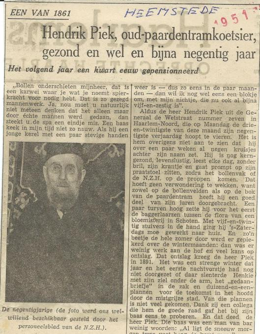 Artikel over oud-paardentramkoetsoer Hendrik Piek in het Haarlems Dagblad (1951)