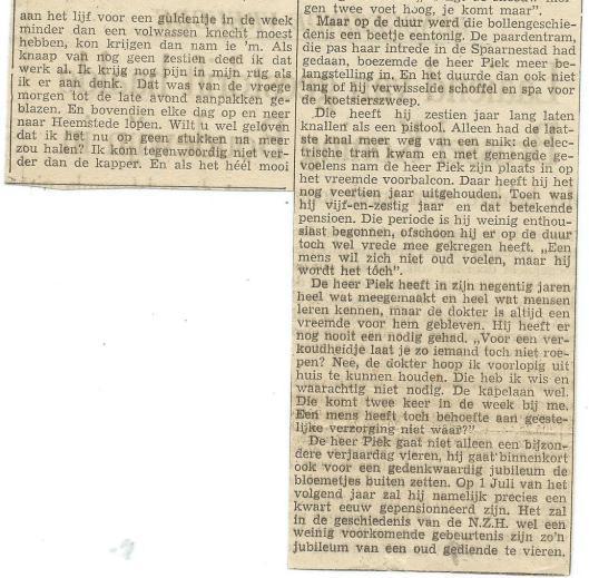 Vervolg artikel over 90-jarige Hendrik Piek, oud-paardentramkoetsier (Haarlems Dagblad, 1951)