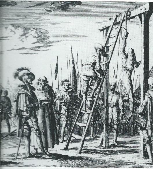 Tijdens het Beleg van Haarlem in 1572-1573 zijn allerlei reedheden begaan. Op deze 18e eeuwse kopergravure is afgebeeld hoe in december 15572 krijgsgevangene Jan Smit aan de galg buiten de stad op wrede wijze door de Spaanse bezetters werd terechtgesteld.