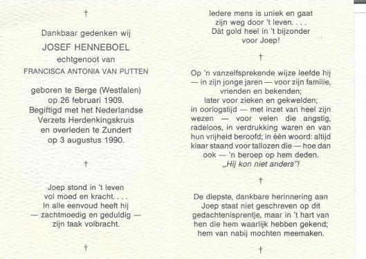 Bidprentje van op 3 augustus 1990 overleden Joep Henneboel (Jupp Henneböhl)