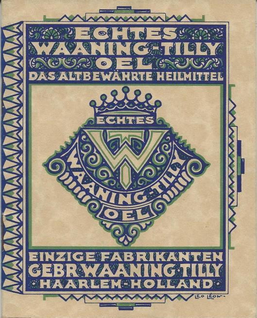 Voorzijde Duitstalige brochure van Waaning-Tilly Oel, Haarlem