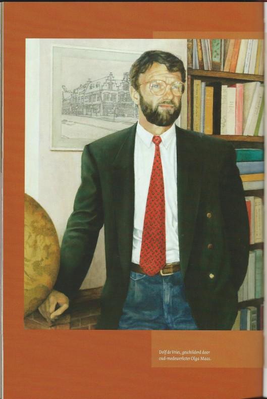 Geschilderd portret van Dolf de Vries, door Olga Maas (Uit: 'Hier vind je de hele wereld'; een eeuw H.de Vries boeken. 2005)