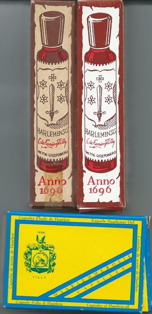 2 doosjes met flesjes vloeibare Haarlemmerolie e 1 doosje met capsules van C.de Koning Tilly, haarlem
