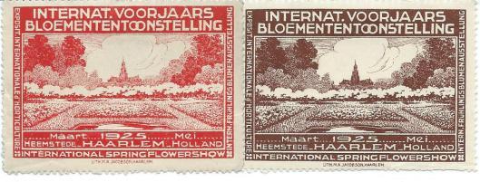 2 sluitzegels Int. Voorjaarsbloemententoonstelling maart-mei 1925 in Haarlem
