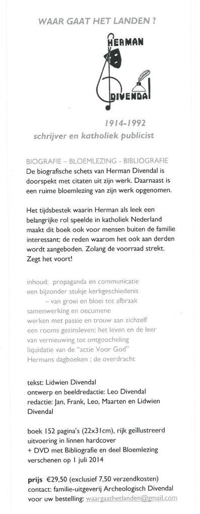 Boekenlegger met informatie over een in 2014 verschenen boek van Lidwiebn Divendal, getiteld: 'Waar gaat het landen? Herman Divendal 1914-1992 schrijver en katholiek publicist.