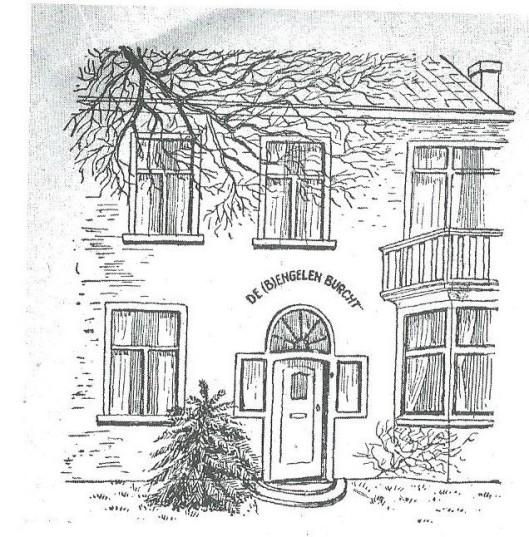 Tekening van de (B)Engelen-Burcht, Voorweg 7, Heemstede, destijds bewoond door de familie Divendal-Belinfante. Uit: blad van de Katholieke Landarbeidersbond (KLAB), 1957.