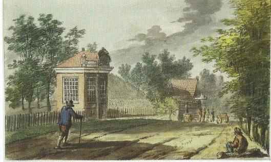 De Herenweg met koepel van Meer en Berg tegenover de Beukenlaan en wat verderop herberg de Konijnenberg (N.H.A., Haarlem)