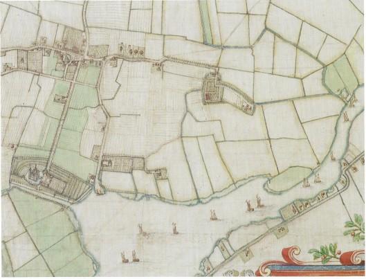 Uitsnede van de kaart van Heemstede door landmeter Balthasar Floriszoon van Berckenrode uit 1643. Hierop zijn onder meer te zien: de dorpskerk, het Huis te Heemstede, het Klooster, Meermond en Sparenburg. Bij het klooster zijn verder nog de poldermolen en zandvaart met kolk afgebeeld. Het noorden ligt trechtsboven. NHA. (Uit: F.R.Hazenberg, Hageveld, pagina 62).