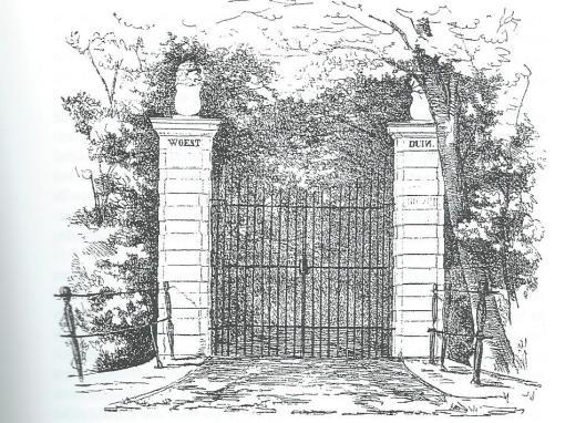 Het toegangshek van landgoed Woestduin. Uit: De gedichten van de Schoolmeester, uitgegeven door mr.J.van Lennep, 1860.