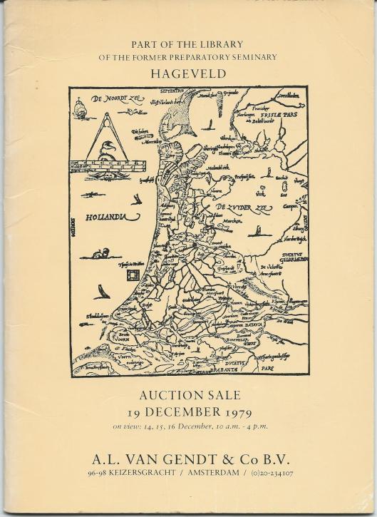 Vooromslag van veilingcatalogus A.L. van Gendt, 19 december 1979. Een ander deel ging naar antiquariaten en het restant, waaronder ook 17e en 18e eeuwse boeken en alle jaargangen van dagblad De Tijd kwam in de container terecht.