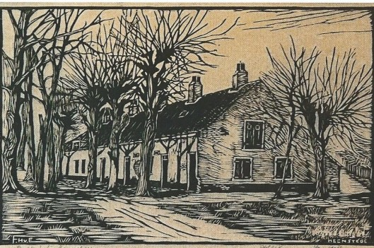 Houtgravure van het Bullenhofje waar personeel van Bosbeek woonde, in 1928 gesloopt.