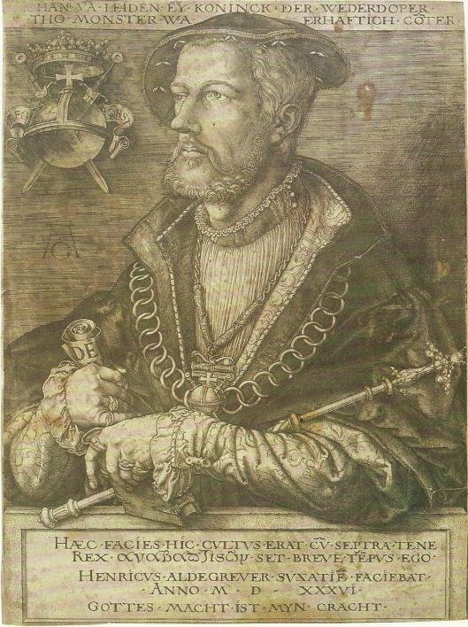 Jan van Leiden, 'koning van de wederdopers' (1520-1536). Kopergravure van Heinrich Aldegrever, 1536. (Stadsmuseum Münster).