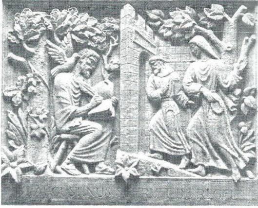 Muurtegel in de hal van moederhuis Mariënheuvel te Heemstede met een voorstelling van Augustinus die zijn (orde-)regel schrijft