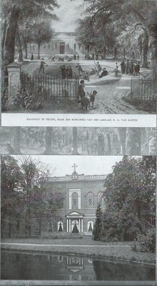 Boven: het eerste Hageveld te Velsen (1817-1847, naar een schilderij van A.M.van Zanten en onder: het tweede Hageveld in Voorhout (1847-1923). In 1923 is het seminarie verhuisd naar Heemstede, het derde Hageveld.
