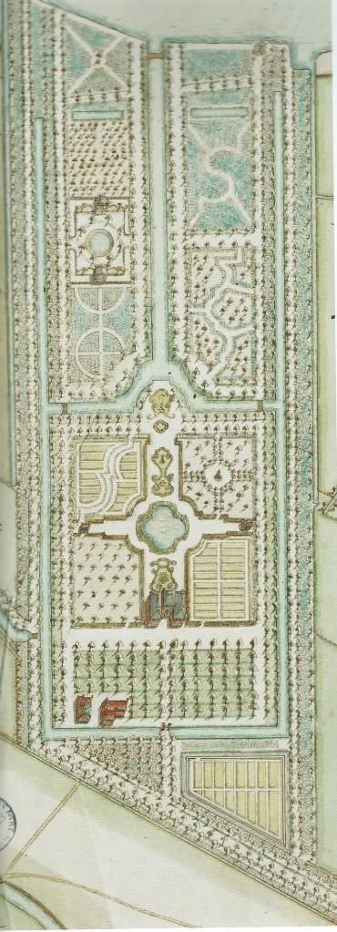 Ontwerptekening voor tuin van het Klooster door landmeter D.Klinkenberg uit 1744