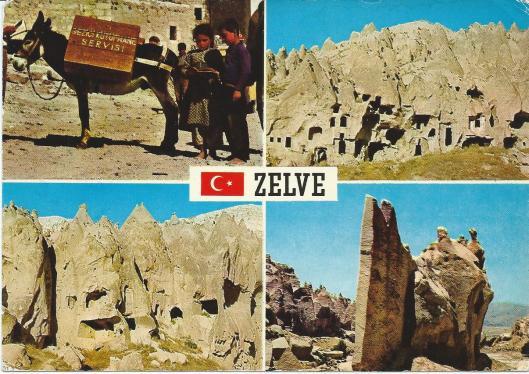 Prentbriefkaart van bibliotheekvoorziening in Zelve, Nevsehir, Capadocië