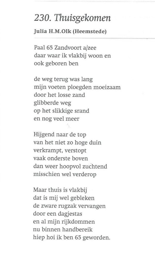 'Thuisgekomen' door Julia H.M.Olk uit Heemstede
