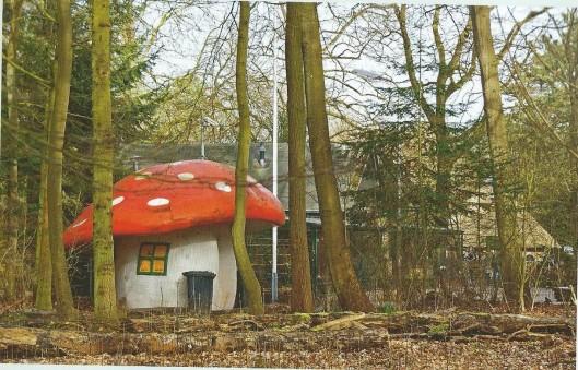 Een toiletgebouwtje als een moderne folly nabij het bezoekerscentrum van Groenendaal (Uit boek Groenendaal, HVHB, 2013)