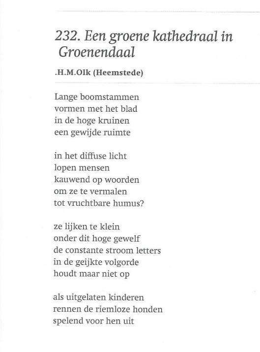 'Een groene kathedraal in Groenendaal' ; door Julia H.M.Olk (Heemstede)