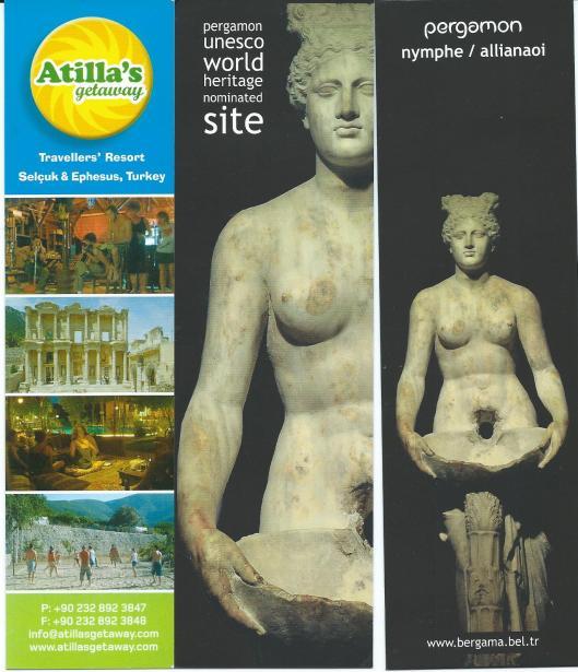Boekenleggers Turkije. Links: Atilla's getaway met afbeelding van Celsus-bibliotheek. in EFESE; midden en rechts: UNESCO world heritage site: PERGAMON
