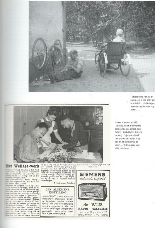 Pagina over 'Unicum' uit het boekje Tweeslag (1992). Op de krantenfoto zien we vooraan links directeur Chr. J.van Vlet