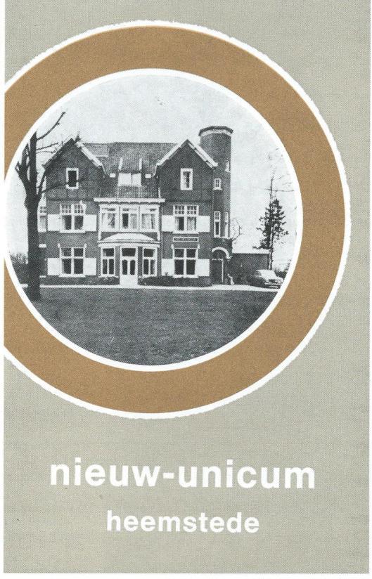 Omslag van brochure uit 1965, het huis met nieuwe naam 'Nieuw-Unicum' aan de Herenweg 215 is in 1962 betrokken.