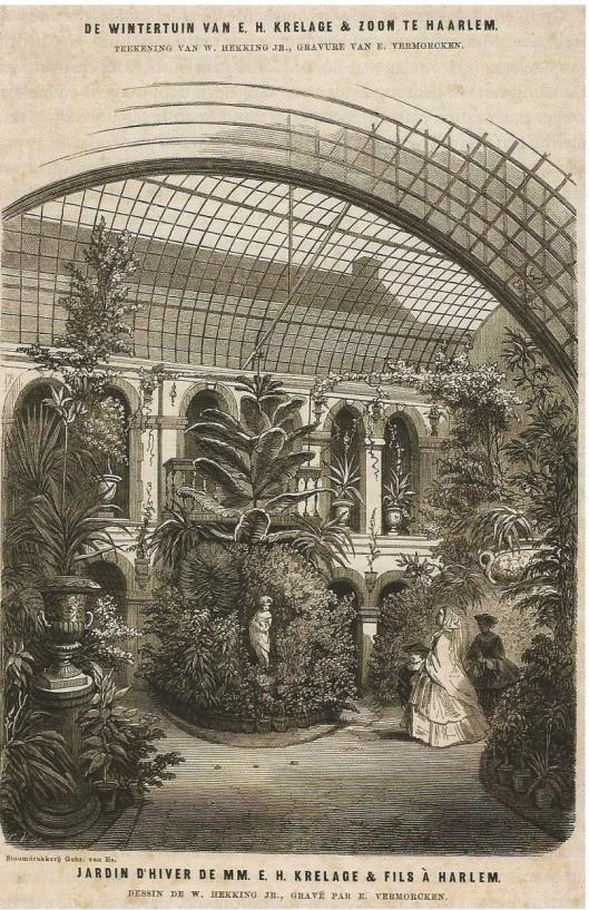 De Wintertuin van E.H.Krelage & Zoon aan de Kleine Houtweg te Haarlem in 1859. Houtgravure, tekening van W.Hekking jr., gravure door E.Vermorcken, 1859