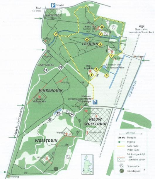 Situering van landgoederen Leyduin, Vinkenduin en Woestduin (Landschap Noord-Holland)