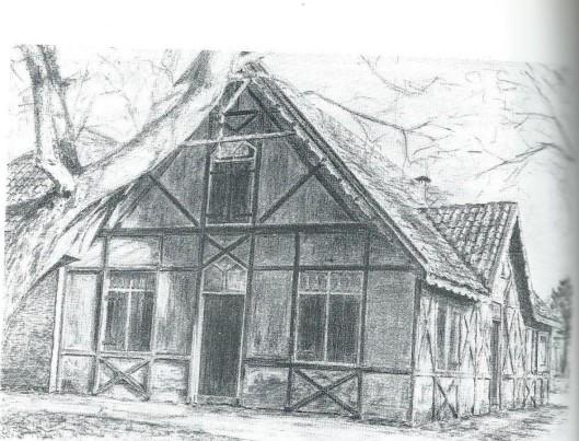 Tekening van oude boerderij Swartsenburg grenzend aan het Haarlemmermeer (nu Ringvaart).