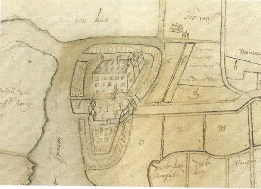 Detail van een kaart door landmeter Pieter Bruynsz, oktober 1589 met het kasteel van Heemstede (Uit Heelijkheidsarchief Heemstede, NHA)