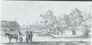 Haarlemse jaag- of trekschuit. De passagiers konden zowel aan dek of onder de roef plaatsnemen. Vanaf de masttop liep een lijn naar het paard dat de schuit voorttrok. Ets van R.Nooms uit omstreeks 1750