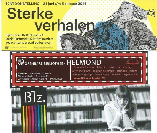 Blaswijzers van boven naar beneden: tentoonstelling 'Sterke verhalen' bij Bijzondere Collecties Amsterdam 2014; openbare bibliotheek Helmond; boekwinkel Heinink in Denekamp