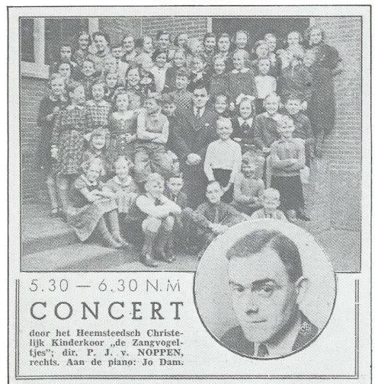 28 april 1938. Concert door de NCRV radio door het Heemsteedsch Christelijk Kinderkoor 'De Zangvogeltjes' onder leiding van leerkracht P.J.van Noppen van de Nicolaas Beetsschool en aan de piano Jo van Dam
