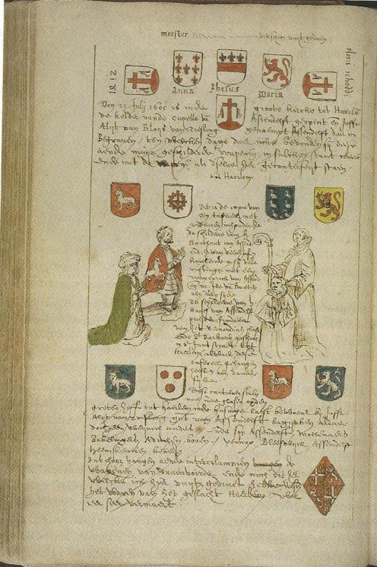 Buchelius tekende in 1605 het gebedsportret van mr.Hugo van Assendelft (rechts) en diens broer Bartout (Universiteitsbibliotheek Utrecht)