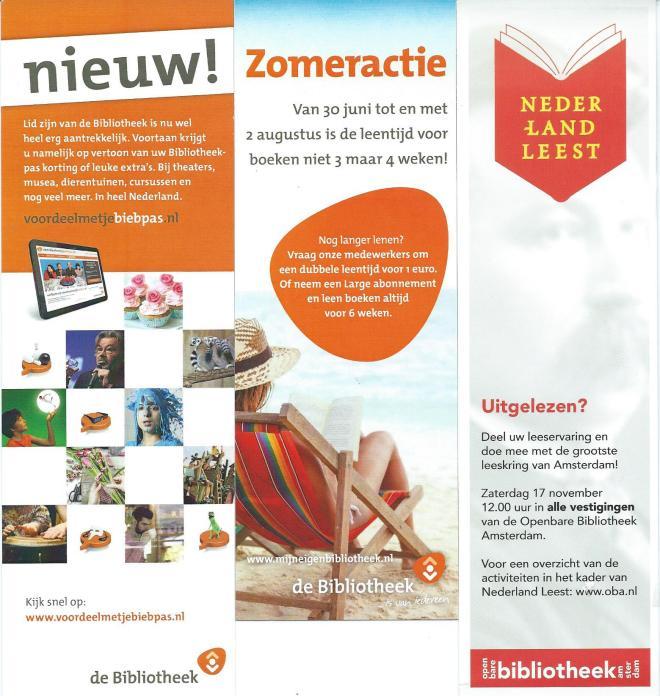 Boekenleggers met promotie voor acties van de openbare bibliotheken Nederland