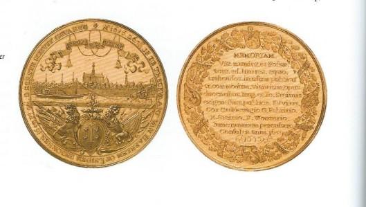 Door de Haarlemse commissarissen van de Leidse trekvaart in 1659 uitgegeven gouden penning