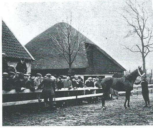 Veiling van dravers op de Cruquiusboerderij, februari 1909. In de baan met gezicht naar het publiek A.H.van Wickevoort Crommelin. Vanwege het totalisatorverbod besloot hij in 1911 zijn stoeterij op te heffen. Met zijn overlijden op 47-jarige leeftijd in 1912 kwam hieraan een definitief einde. Zijn kinderen hebben zich niet in de paardensport en -fokkerij bewogen.