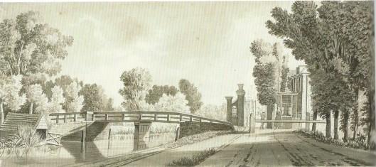 Anonieme tekening van het tolhek en brug aan de Leidsevaart in Heemstede