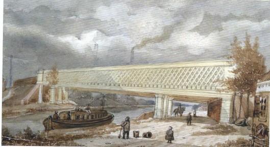 Stoomtrein en trejkschuit ontmoeten elkaar hier bij de Traliebrug in Vogelenzang. Aquarel van H.W.Last uit 1845
