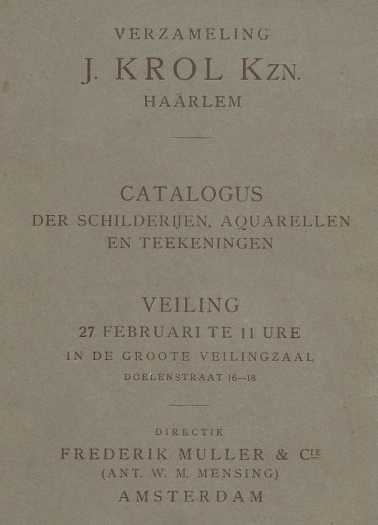 Voorzijde van veilingcatalogus verzameling J.Krol Kzn., geveild bij Frederik Muller met vooral 19e eeuwse kunsteaars